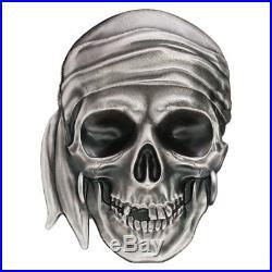 2017 Palau Pirate Skull High Relief 1 oz Silver Antiqued Proof $5 OGP SKU50437