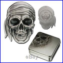 2017 Palau Pirate Skull High Relief 1 oz Silver Antiqued finish $5 (box/coa)