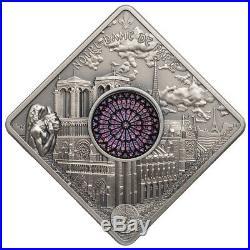 2017 Palau Sacred Art Notre Dame Cathedral UHR 50g Silver Antiqued $10 SKU57901