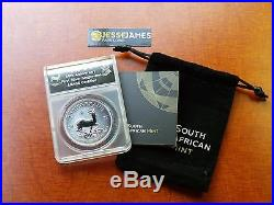 2017 South Africa Silver Krugerrand Anacs Sp70 50th Anniversary Black Label
