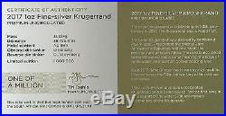 2017 South African 1 oz Silver Krugerrand with COA & Pouch FDOI NGC SP 70