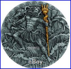 2018 1 Oz Silver $2 POSEIDON, GREEK GOD OF OCEANS Ultra High Relief Coin, Niue