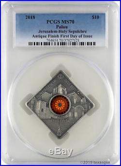2018 $10 Palau Sacred Art Holy Sepulchre 50g. 999 Silver Coin PCGS MS70 FD