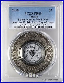 2018 $2 Tuvalu Thermometer Antique Finish 2oz 9999 Silver Coin PCGS PR69 FD