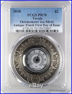 2018 $2 Tuvalu Thermometer Antique Finish 2oz 9999 Silver Coin PCGS PR70 FD