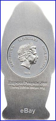 2018 $20 Cook Islands Emperor Penguin 88g. 999 Silver Antique Finish Coin