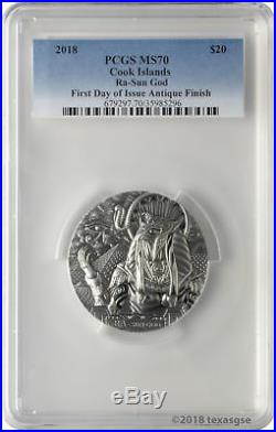 2018 $20 Cook Islands Ra Sun God 3oz. 999 Silver Antiqued Coin PCGS MS70 FD