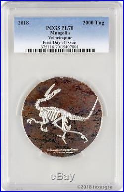 2018 2000 Tug Mongolia Velociraptor 3oz. 999 Silver Coin PCGS PL70 FD