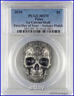2018 $5 Palau La Catrina Skull Antique Finish 1 oz 999 Silver Coin PCGS MS70 FD