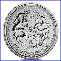 2018 5 oz Niue Silver $10 Double Dragon BU