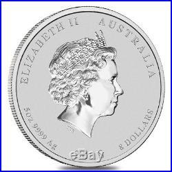 2018 5 oz Silver Lunar Year of The Dog BU Australian Perth Mint In Cap
