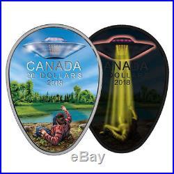 2018 CANADA $20 UFO Glow-in-the-Dark FALCON LAKE INCIDENT 1oz Proof Silver Coin