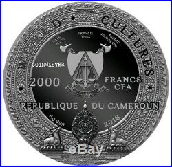 2018 Cameroon 2000 Francs World Cultures KAPALA 2 Oz Silver Coin