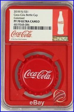 2018 Fiji Coca- Cola Bottle Cap Silver Coin NGC PF70 Red Core Box & COA UC