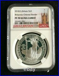 2018 Great Britain 1 oz PROOF Silver Britannia 2£ Oriental Border NGC PF70UC