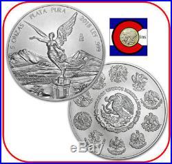 2018 Mexico 5 oz Silver BU Libertad Coin in direct fit capsule