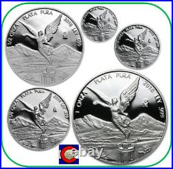 2018 Mexico Silver Proof Libertad 5 Coin Set (1/20 1/10 1/4 1/2 1oz) in capsules