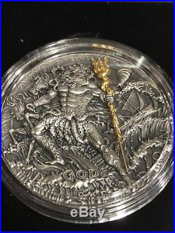 2018 Niue 2 oz Antique Silver God of the Sea Poseidon High Relief