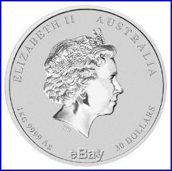 2018-P Australia Year of the Dog 1 Kilo Silver Lunar (S2) $30 Coin BU SKU49061