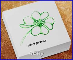 2018 Palau Fortune Four-Leaf Clover Shaped 1 oz Silver Antiqued BU OGP SKU51838