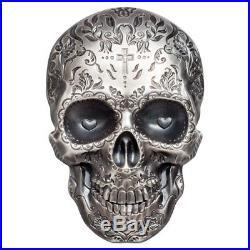 2018 Palau Skull La Catrina HR 1 oz. Silver Antiqued $5 GEM Proof OGP SKU55098