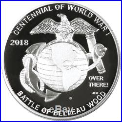 2018 Proof World War I Silver Dollar Marines Medal 2pc Set Box OGP & COA