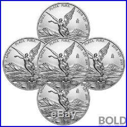 2018 Silver 1 oz Mexican Libertad (5 Coins)