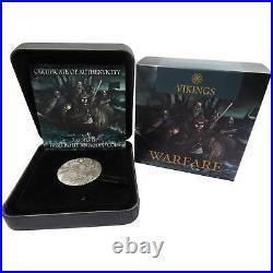 2018 Tuvalu $2 Warfare Vikings 2 oz. 9999 Silver Antiqued High Relief Coin