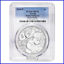 2019 1 oz Tuvalu Homer Simpson Silver Coin PCGS MS 70 First Strike