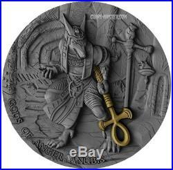 2019 2 Oz Silver $5 Niue ANUBIS Gods Of Anger Antique Finish Coin