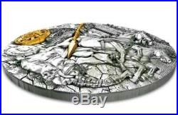2019 2 Oz Silver $5 Niue CHARIOT Rydwan Warfare, Antique Finish Coin