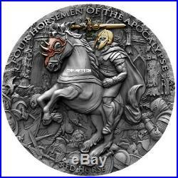 2019 2 Oz Silver Niue $5 RED HORSE, Four horseman Of The Apocalypse Coin