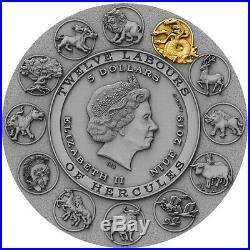 2019 2 Oz Silver Niue $5 TWELVE LABOURS OF HERCULES, Lernaean Hydra Coin