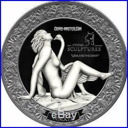 2019 2 Oz Silver Palau $10 LEDA AND SWAN Eternal Sculptures Coin