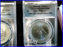 2019 (5 Coin) 1 oz SILVER WORLD CLASS COIN SET ANACS MS70 Wood Display Box ECC&C
