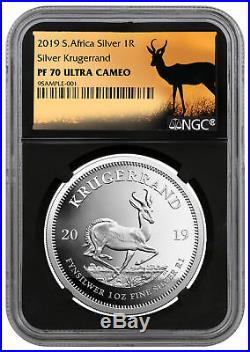 2019 Africa 1 oz Proof Silver Krugerrand NGC PF70 Blk Springbok PRESALE SKU56658