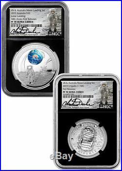 2019 Aust -US Apollo 11 Moon Domed 2-PC NGC PF70 UC FR Blk Duke Label SKU58427
