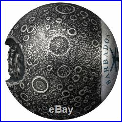 2019 Barbados 50th Moon Landing Spherical 1oz Silver Antiqued $5 Gem BU SKU57865