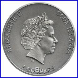 2019 Cook Isl Trapped High Relief 1 oz Silver Antiqued $5 Coin BU OGP SKU57504