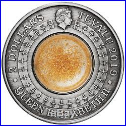 2019 Golden Treasures of Ancient Egypt 2oz. 9999 SILVER $2 ANTIQUED COIN