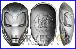 2019 Iron Man Mask 2 Oz. Silver Coin Fiji $5 With All Ogp & Silver Coa