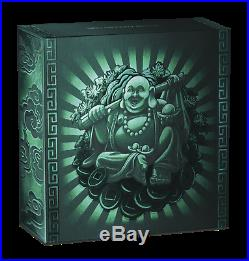2019 LAUGHING BUDDHA $1 Dollar 1oz. 9999 SILVER ANTIQUED JADE-Insert COIN
