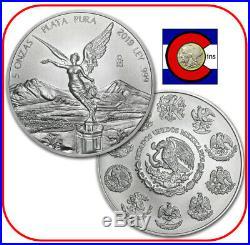 2019 Mexico Libertad 5 oz BU Mexican Silver Coin in direct fit capsule
