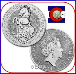 2019 Queen's Beast Unicorn of Scotland 10 oz Silver UK Coin in Mint capsule