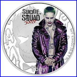 2019 SUICIDE SQUAD JOKER $1 1oz. 9999 SILVER PROOF COLORIZED COIN