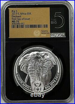 2019 South Africa S5R 1oz. 999 Silver Big 5 Elephant NGC MS70 First Day of Issue