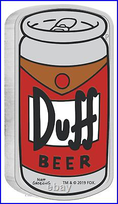 2019 The Simpsons Duff Beer Simpson 1oz $1 Silver 99.99% Proof Can Coin
