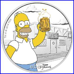 2019 The Simpsons Homer Simpson 1oz $1 Silver 99.99% Dollar Proof Coin