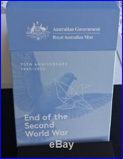 2020 75th ANNIVERSARY END OF WORLD WAR II- 1 OZ BEAUTIFUL SILVER PROOF COIN