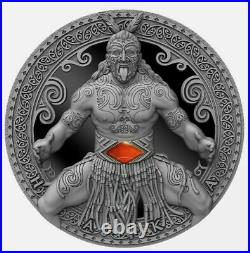2020 Cameroon World Cultures Haka 2 oz 999 Silver Coin withCarnelian 500 Mintage